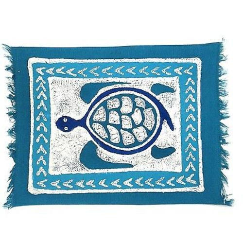 Handpainted Blue Turtle Batiked Placemat Handmade and Fair Trade