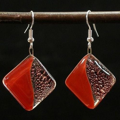 Deep Passion Fused Glass Earrings Handmade and Fair Trade