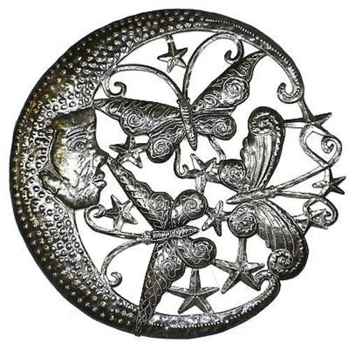 Moon and Butterflies Metal Wall Art 24-inch Diameter Handmade and Fair Trade