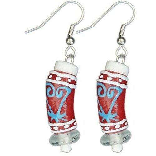 Recycled Glass Adinkra-Sankofa Earrings in Red Handmade and Fair Trade