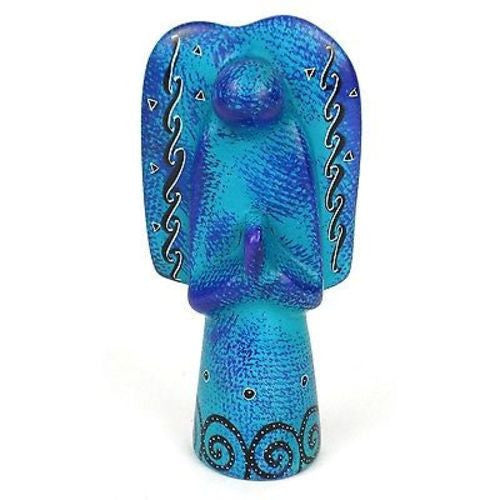 Handcrafted 5-inch Soapstone Angel Sculpture in Blue Handmade and Fair Trade