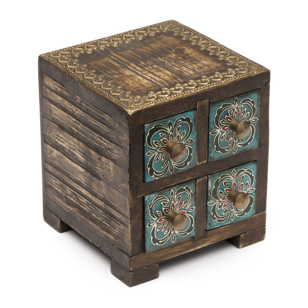 Antiqued Metal and Wood Compartment Box - Matr Boomie (B)