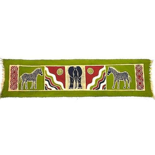 Horizontal Green Zebra and Elephant Batik Handmade and Fair Trade