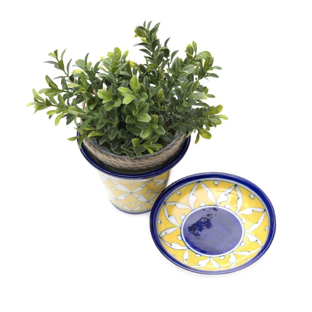 Blue Pottery Planter - Yellow - Matr Boomie (Pottery)