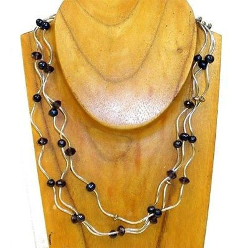 Curly Silver Overlay and Black Freshwater Pearl Necklace with Purple Crystals Handmade and Fair Trade