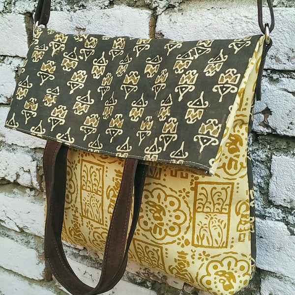 Green Kalamkari Fold Over Bag (Double-Sided)