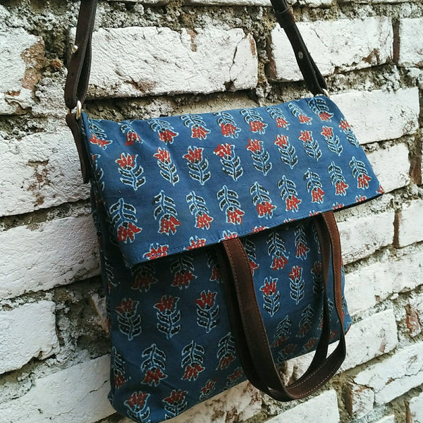 Indigo Kalamkari Fold Over Bag