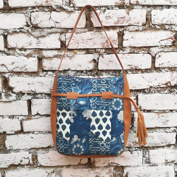 Indigo Broom Shoulder Bag