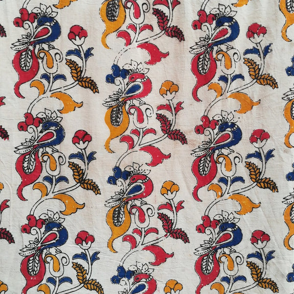 Peacock Kalamkari cotton fabric
