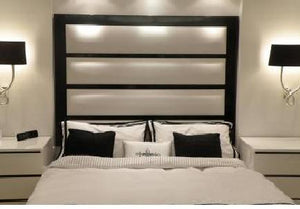 Horizontal Panel With Wooden Inserts & Frame - Headboards For Africa