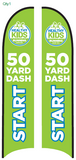50-Yard Dash Start Blade Flag - Large (16') with Ground Spike Base