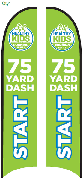 75-Yard Dash Start Blade Flag - Large (15.75') with Ground Spike Base