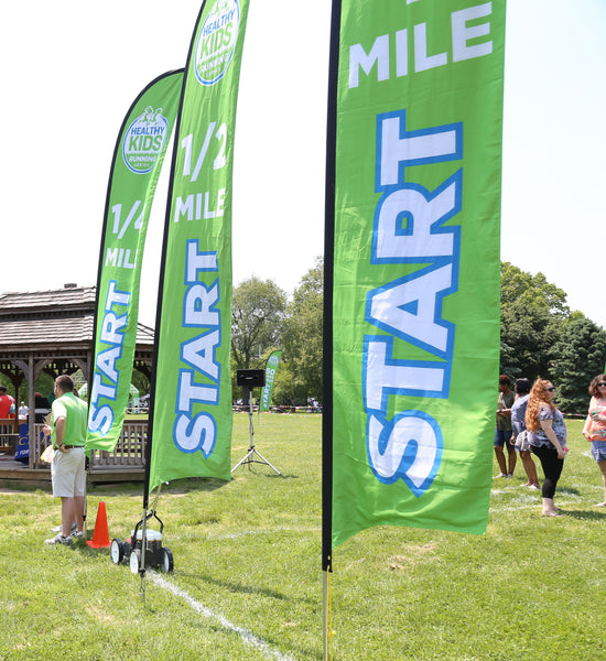 1/2 Mile Start Blade Flag - Large (15.75') with Ground Spike Base