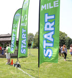 1 Mile Start Blade Flag - Large (16') with Ground Spike Base