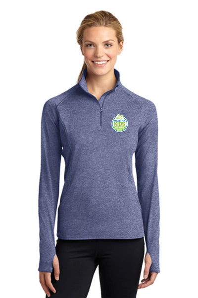 Ladies Sport-Tek® Sport-Wick® Stretch 1/2-Zip Pullover - True Navy Heather