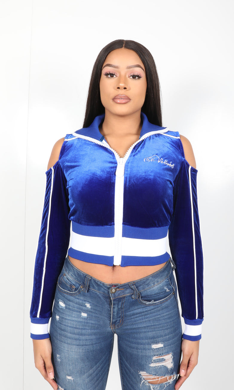 Women's Collar'd Lined LON Royal Blue Velvet Top