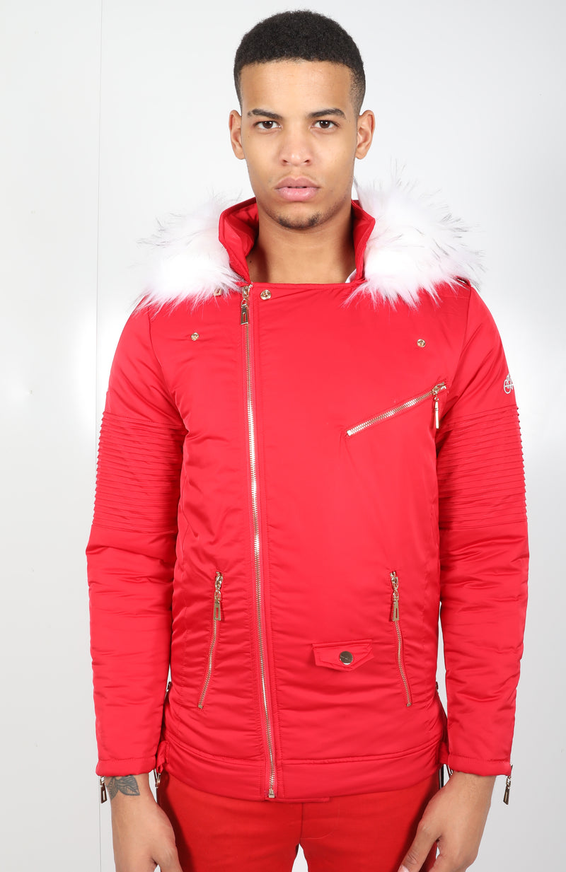 Red El Vélvét Winter Biker Jacket