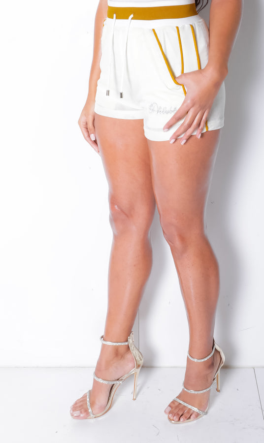 Limited Edition Women's Lined LON Ivory Gold  Velvet Shorts
