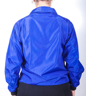 Women Royal Blue Black Panelled Balance RainCoat