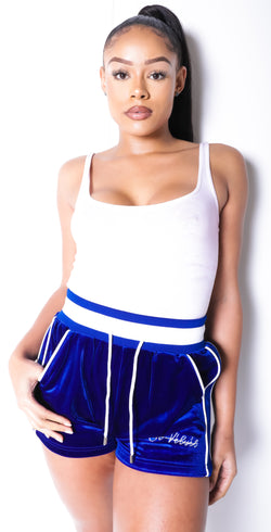 Women's Lined LON Royal Blue Velvet Shorts