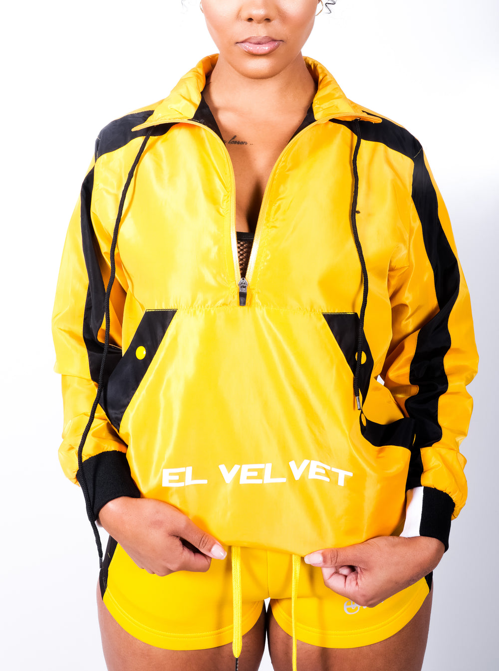 Women Yellow Black Panelled Balance RainCoat