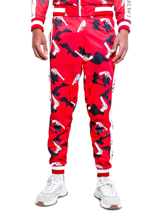 M/RED STRAPPED TrackPants