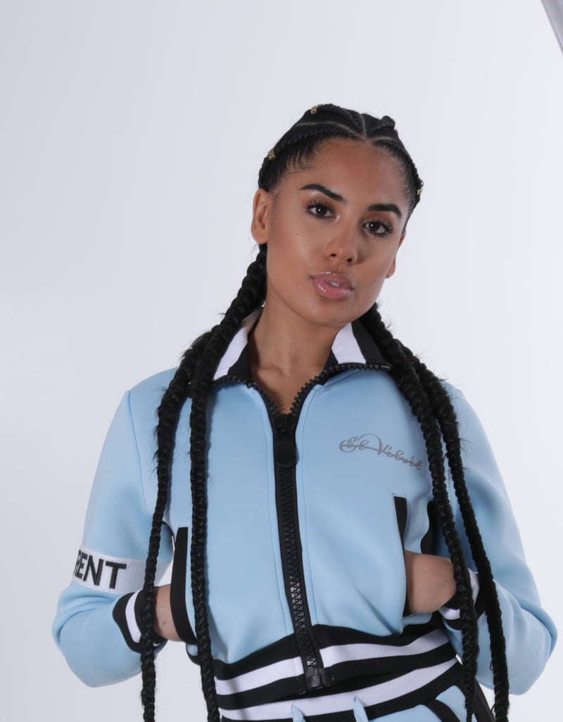 Women Collar'd  SP Neoprene Blush Blue Sweat TOP