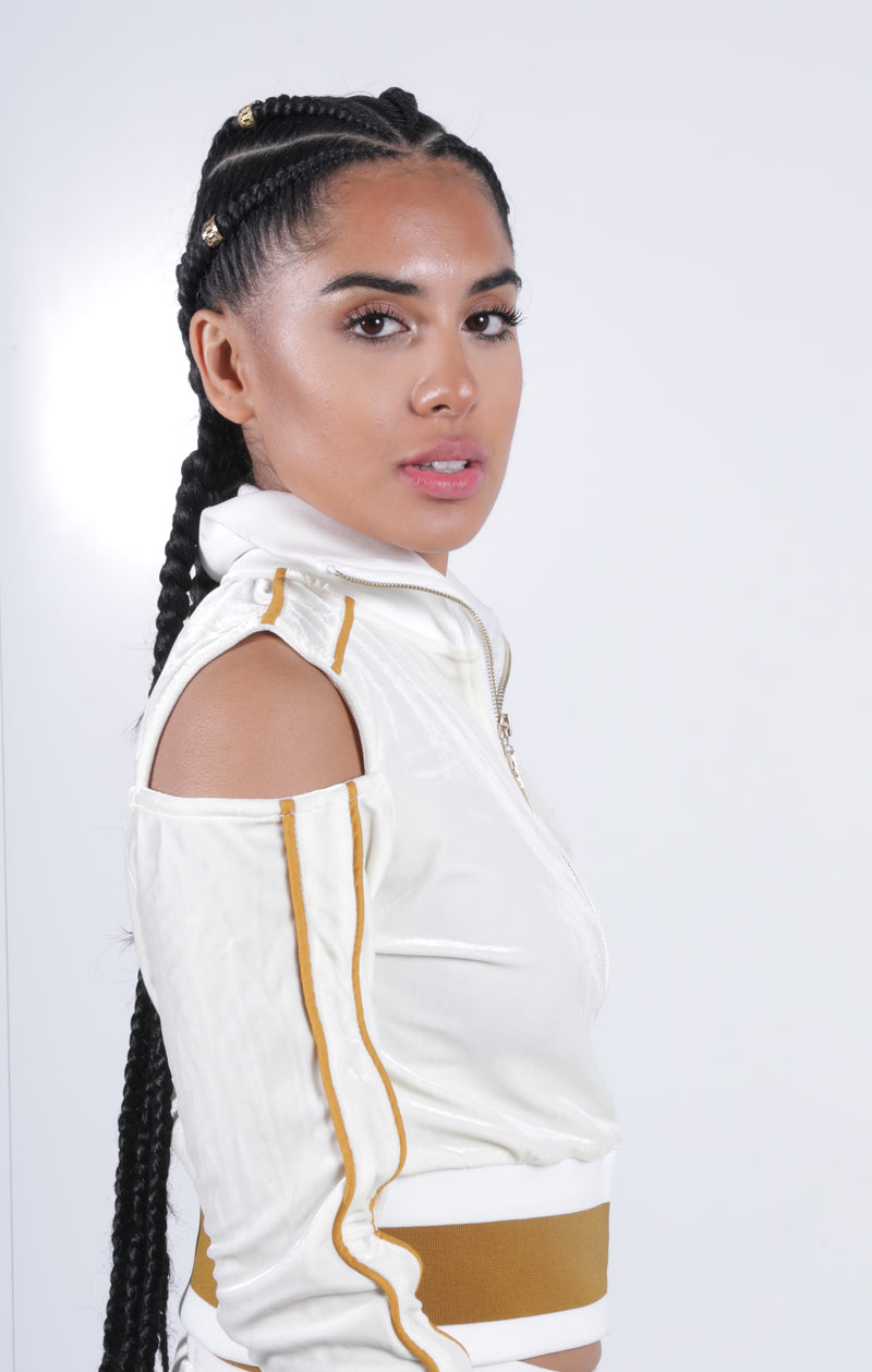 Women's Collar'd Lined LON Ivory Velvet Top