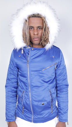 Blue El Vélvét Winter Biker Jacket - Faux