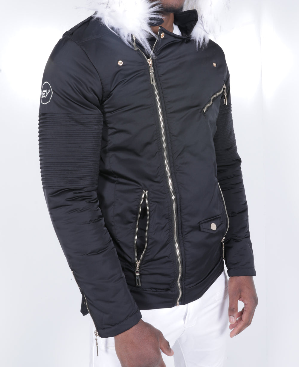 Black El Vélvét Winter Biker Jacket - Faux