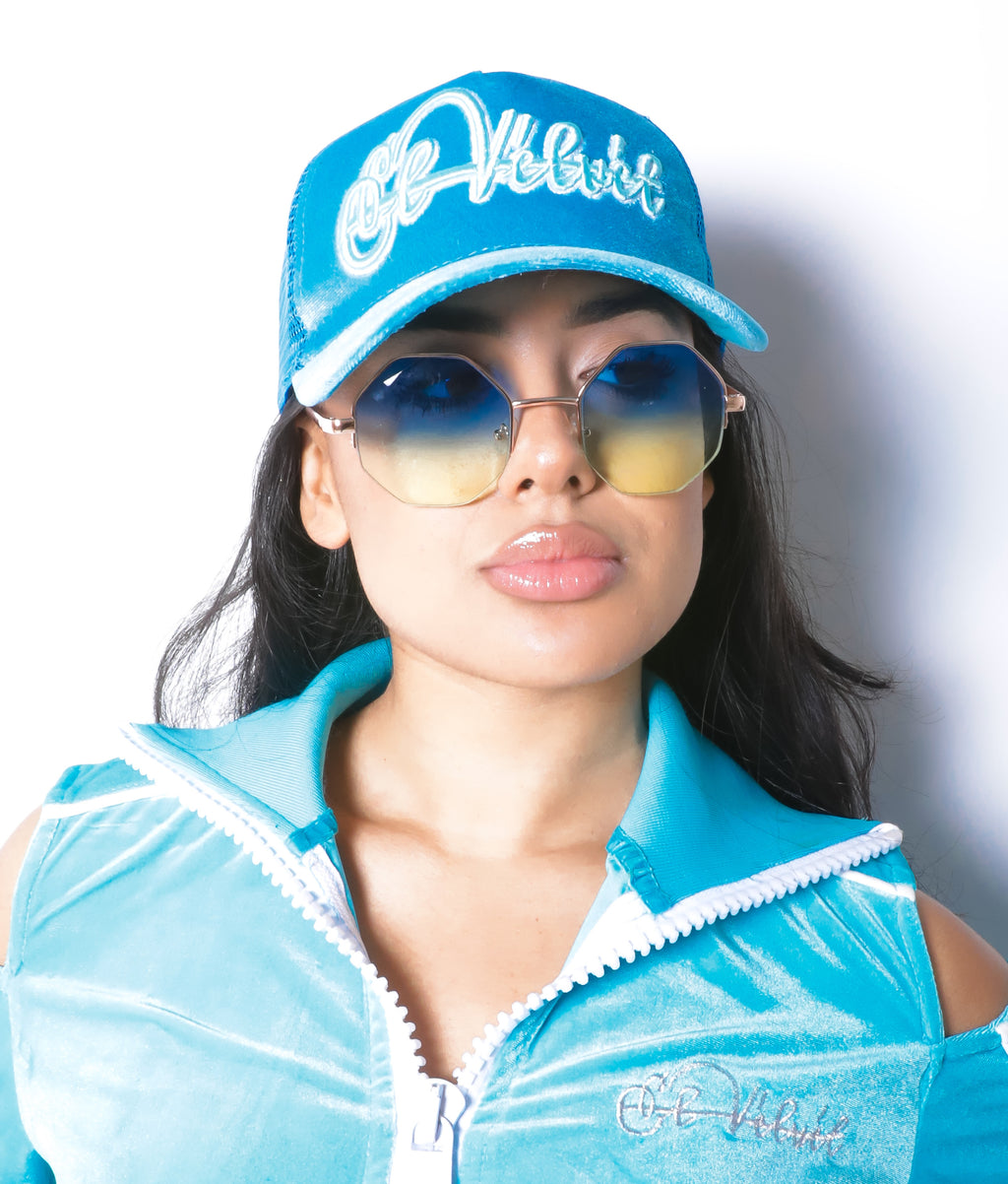 Women Blush Blue Velvet Lux Cap