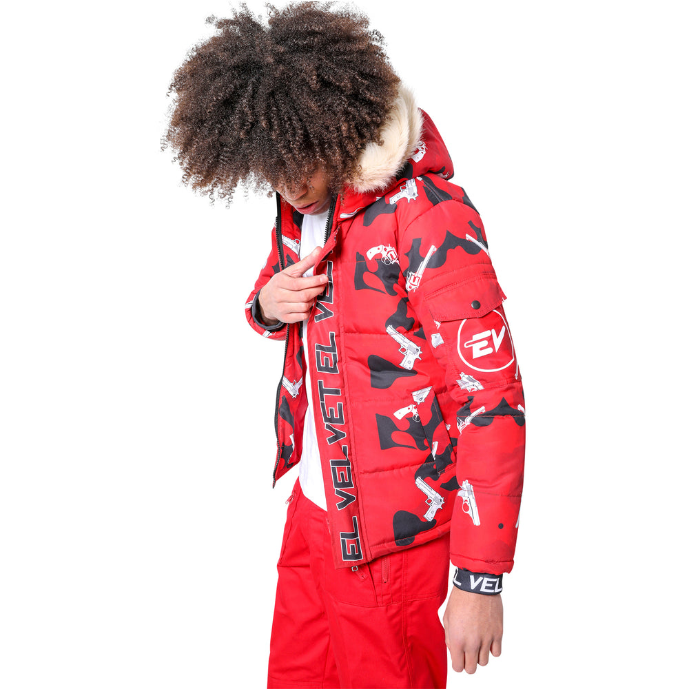 M/STRAPPED RED CAMOUFLAGE JACKET