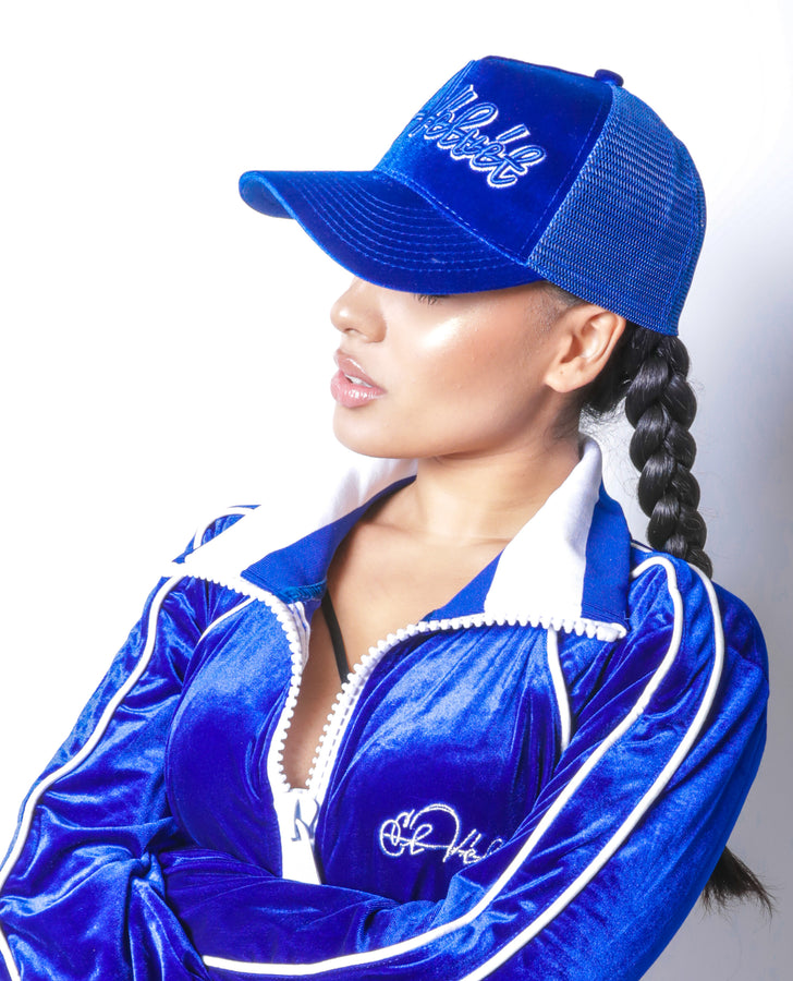 Women Royal Blue Velvet Lux Cap