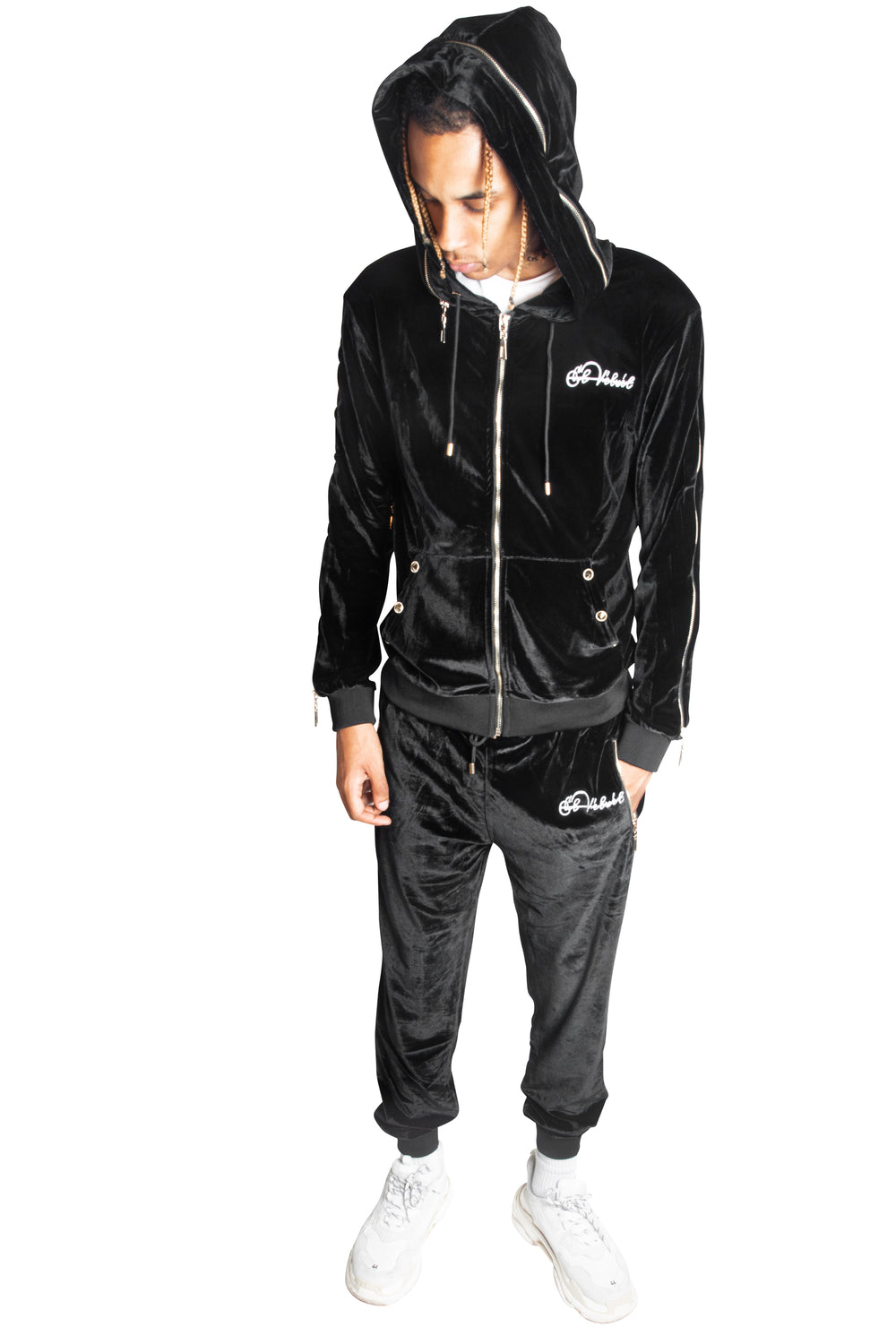 Men's Black Vélvét Full Tracksuit