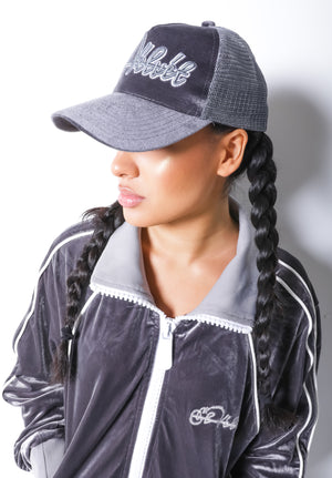 Women Grey Velvet Lux Cap