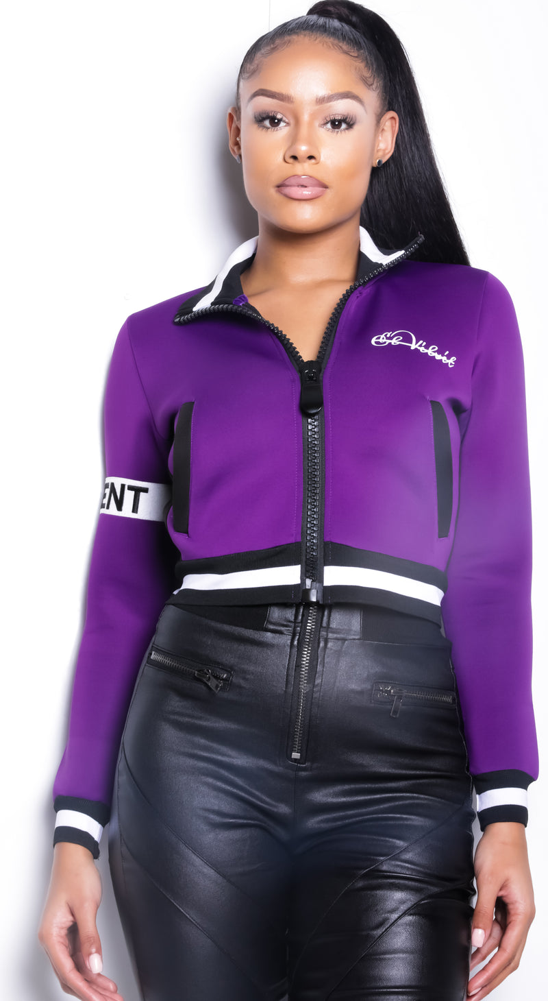 Women Collar'd  SP Neoprene Purple Sweat TOP