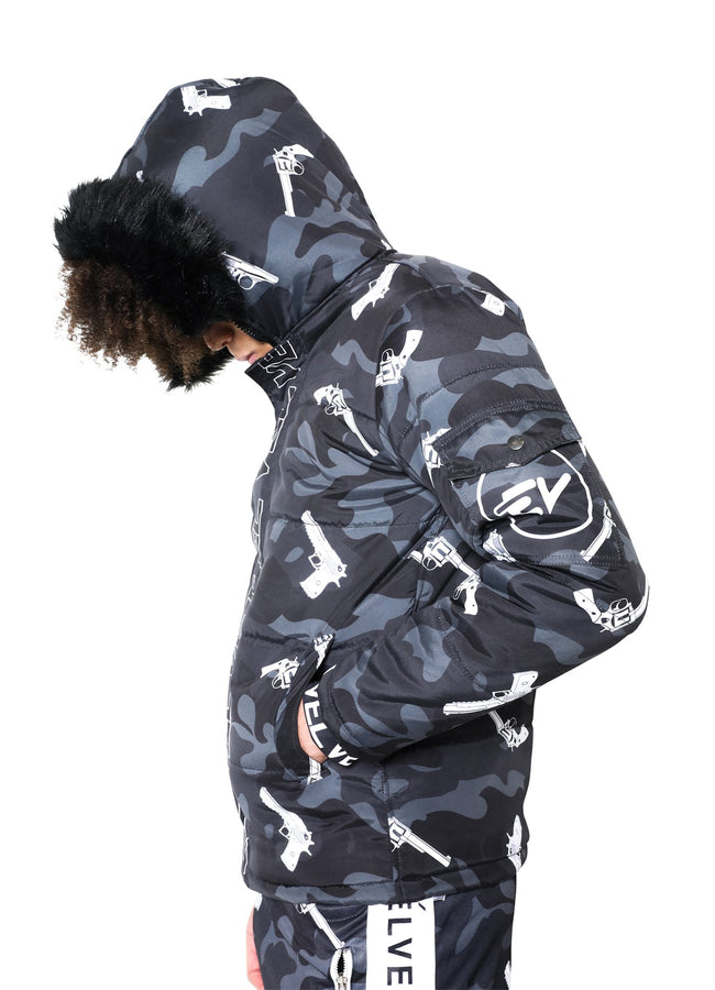 M/STRAPPED BLACK CAMOUFLAGE JACKET