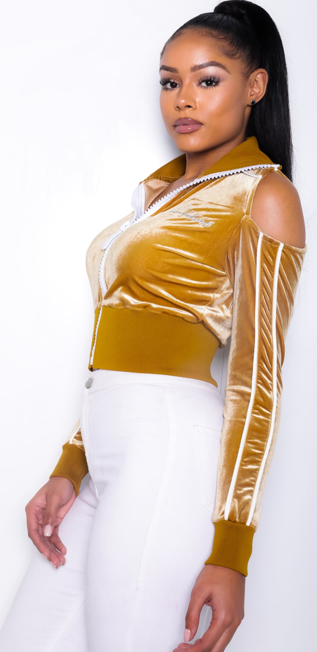 Women's Collar'd Lined LON Gold Velvet Top
