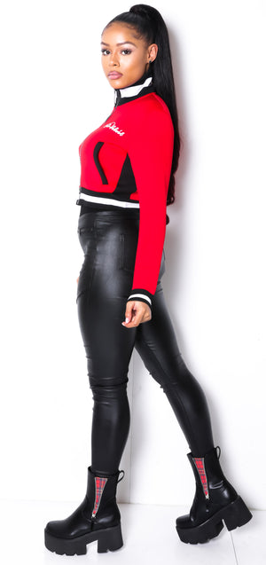 Women Collar'd  SP Neoprene Red  Sweat TOP