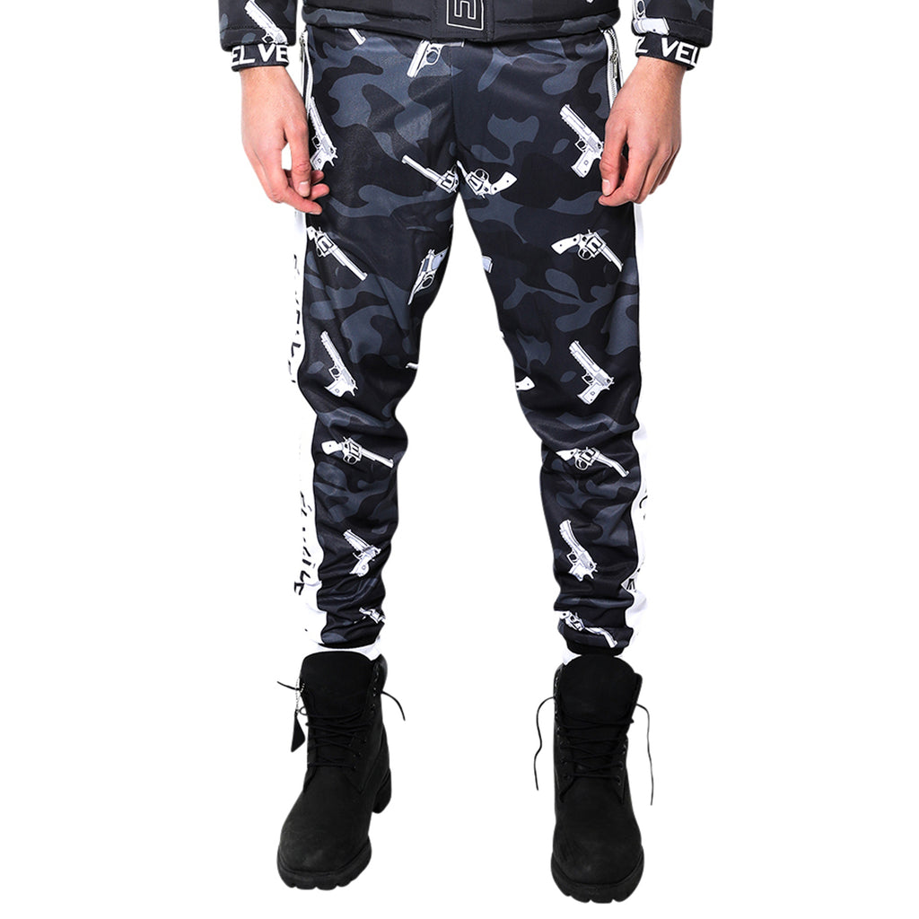 M/BLACK STRAPPED TrackPants