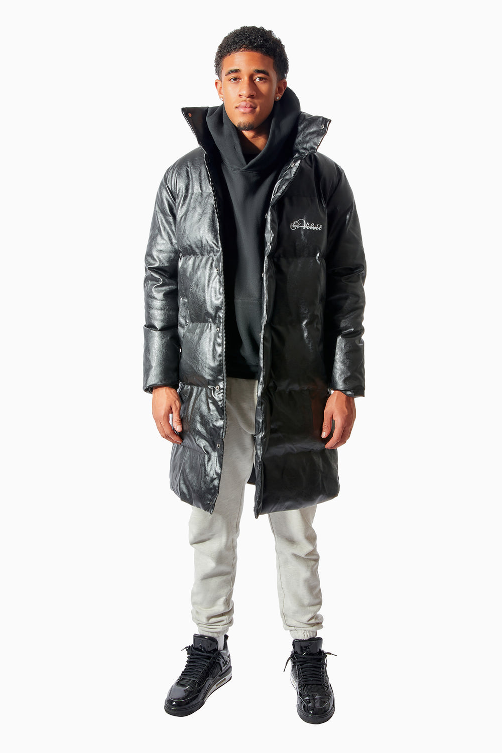 Black Leather Kings Long Puffer 1:1
