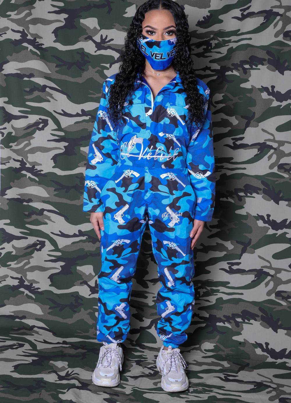 W/BLUE STRAPPED JUMPSUIT