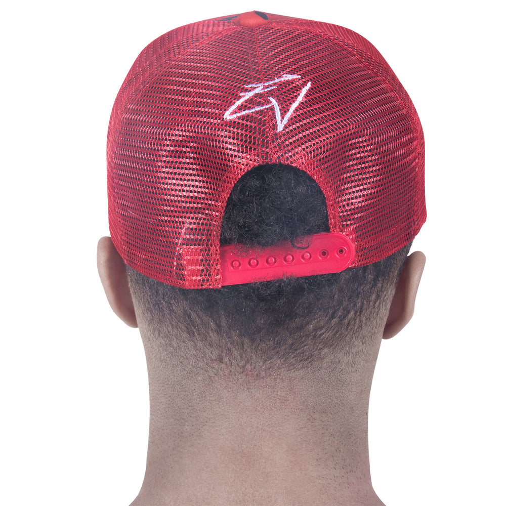 M/RED STRAPPED BASECAP