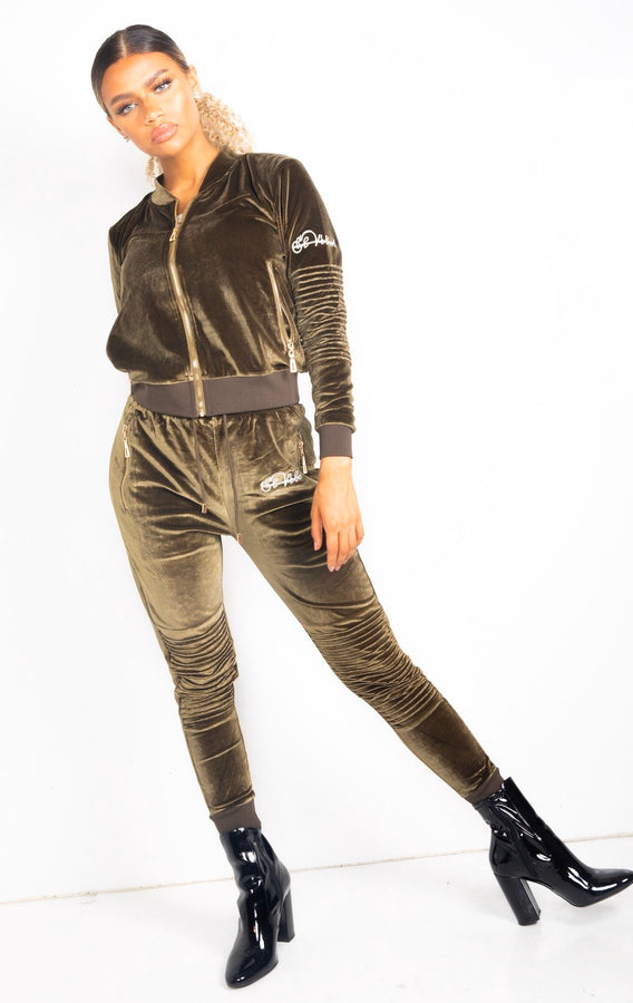 LIMITED EDITION Women's Khaki Vélvét Full Tracksuit