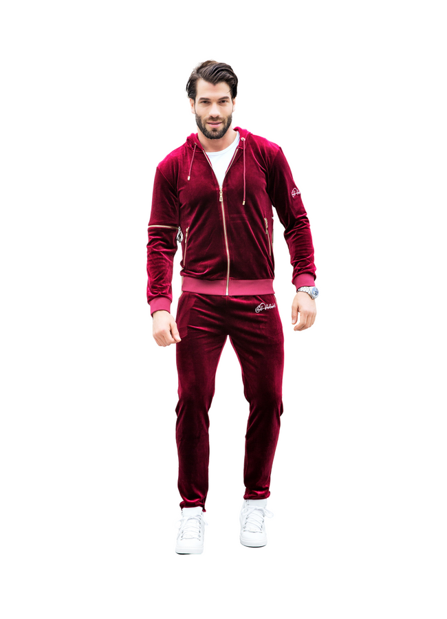 Men's Red Burgundy Vélvét Full Tracksuit