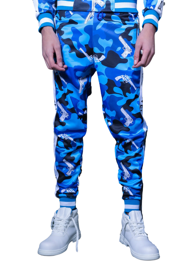 M/BLUE STRAPPED TrackPants