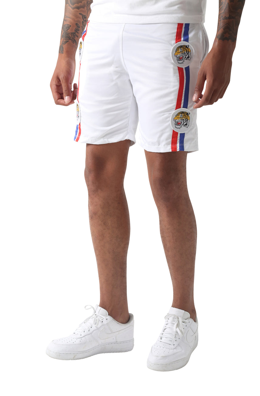 White El Tigré Striped Shorts