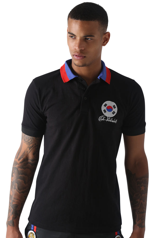 Black Cotton Blue & Red Collared Polo