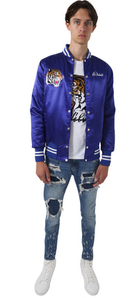 Royal Blue Satin Baseball Bomber Jacket