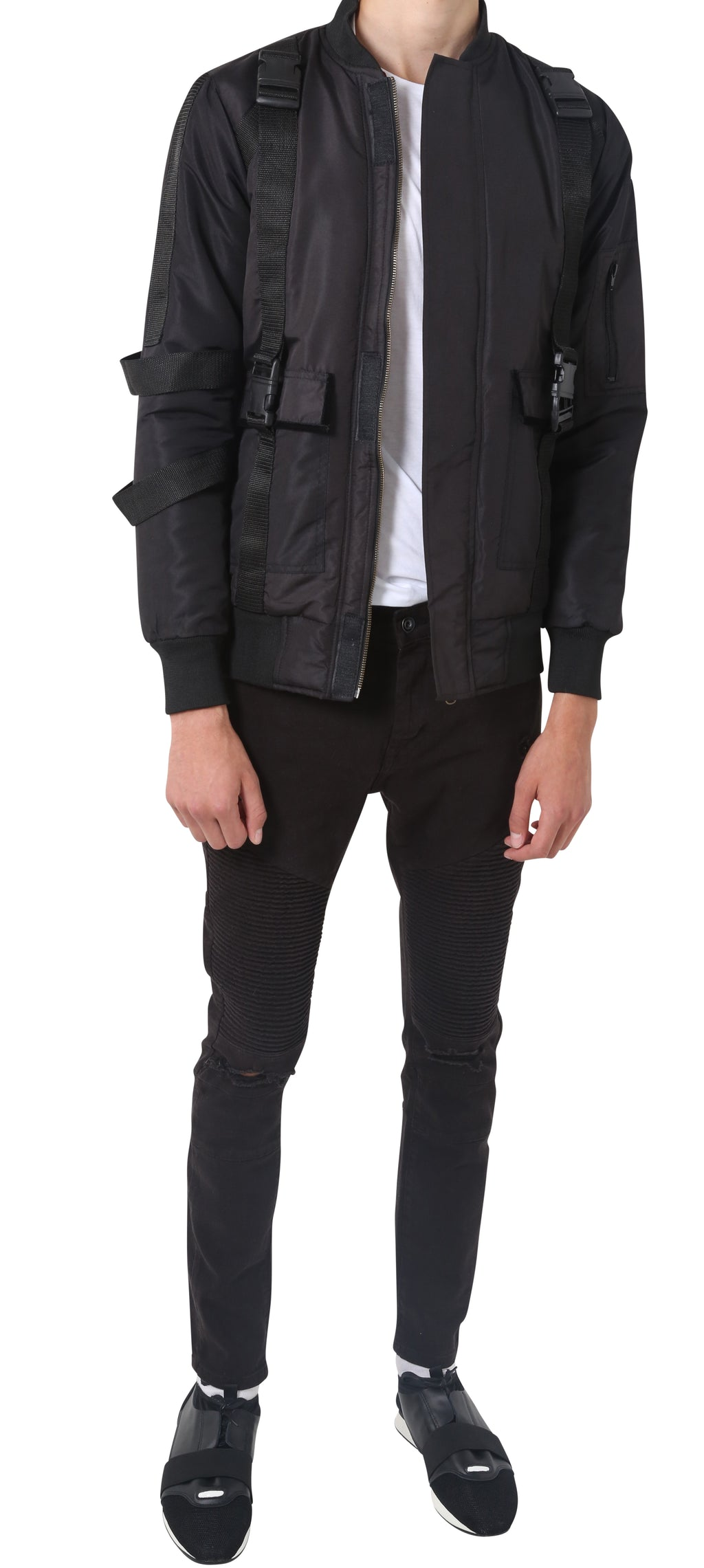 Black Military Bomber Jacket - Reversible